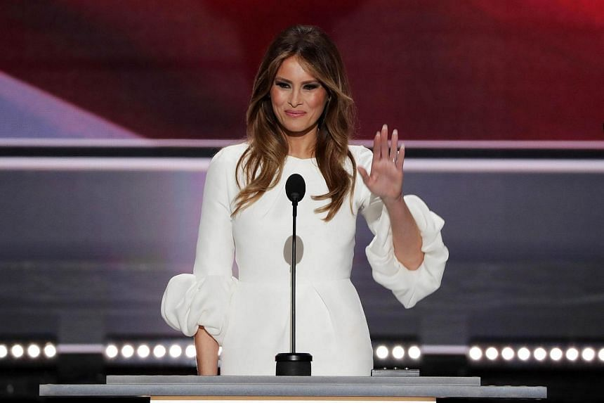 Melania Trump, wife of Donald Trump, waves to the crowd after delivering her speech on the first day of the Republican National Convention.