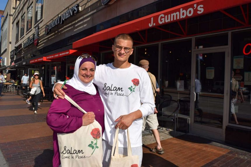 Mrs Rose Hamid and her son, Samir, on Cleveland's Euclid Avenue near the Republican National Convention site in Cleveland.