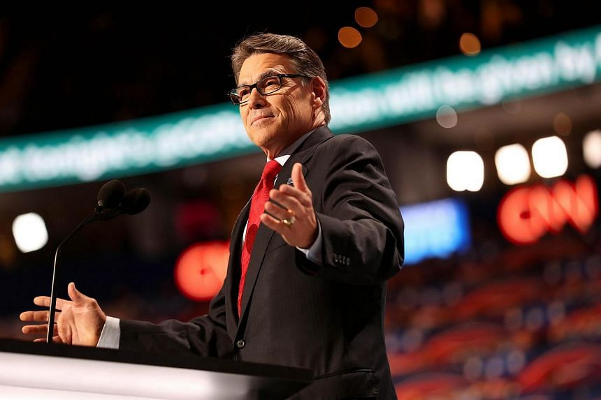 Former Texas governor Rick Perry delivers a speech on the first day of the Republican National Convention on July 18 at the Quicken Loans Arena in Cleveland.