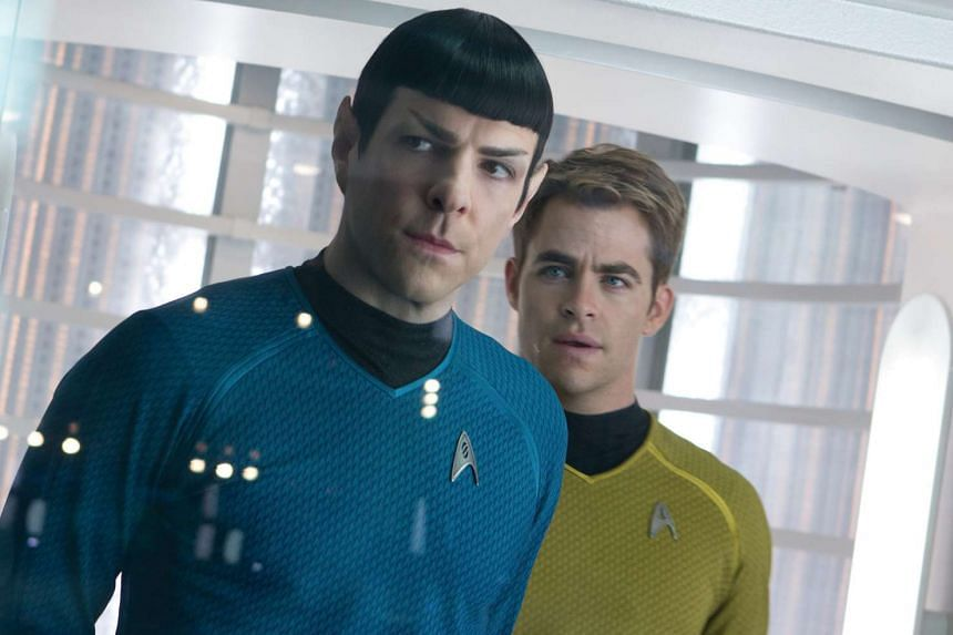 A cinema still from the movie Star Trek Into Darkness starring Zachary Quinto (left) as Spock and Chris Pine as Captain Kirk.
