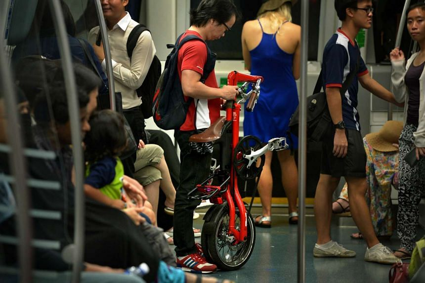 A man with a foldable bicycle in a train along the Circle Line.