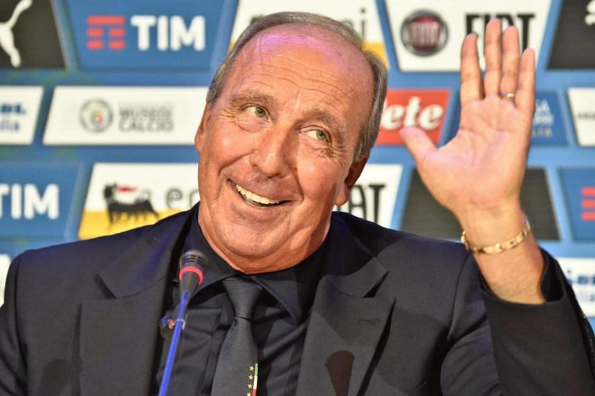New Italy soccer team head coach, Giampiero Ventura during his official presentation in Italy on July 19.