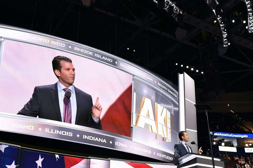 Donald Trump's son Donald Trump Jr. addresses the audience on the second day of the Republican National Convention on July 19, 2016 at the Quicken Loans Arena in Cleveland, Ohio.
