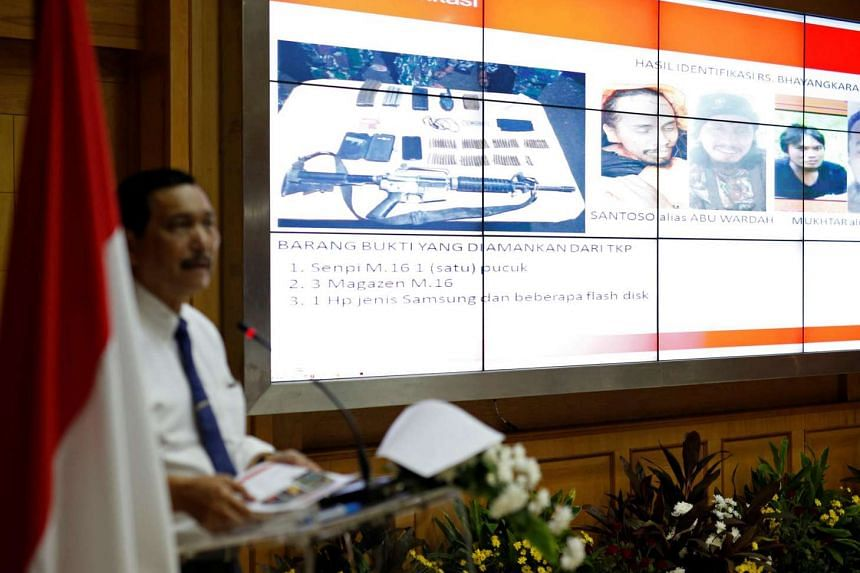Indonesia's Chief Security Minister Luhut Pandjaitan speaking to the media about the death of wanted militant Santoso,  during a briefing on July 20, 2016.