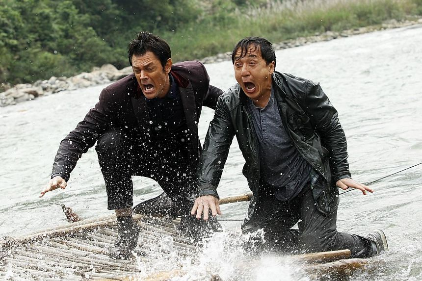 Johnny Knoxville and Jackie Chan (both above) star in Skiptrace.