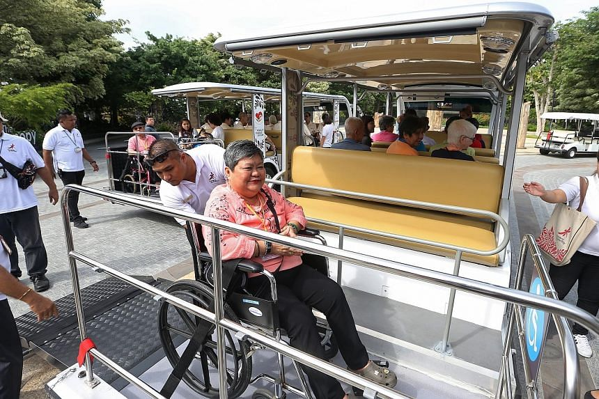 Wheelchair users such as Ms Lim can now see more of Gardens by the Bay with its eight new passenger shuttles, which are equipped with ramps and spaces for wheelchairs. Previously, only two of the Garden's 10 shuttles had wheelchair spaces.