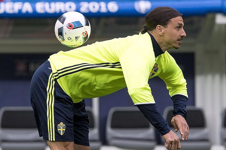"""Sweden captain Zlatan Ibrahimovic controlling a ball during a training session before the Euro 2016 match against Ireland last month. The new Manchester United recruit said: """"I admire Cantona and I heard what he said,"""" but decided he would outrank th"""