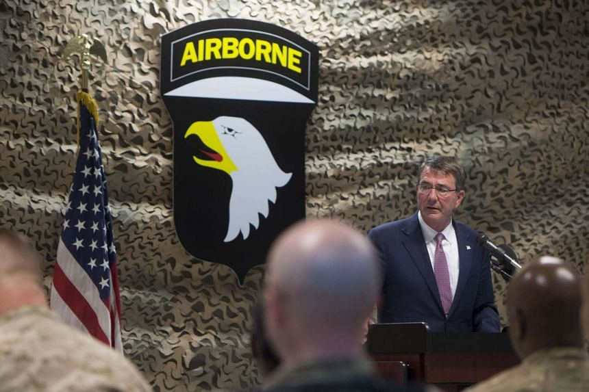 US Pentagon chief Ashton Carter speaking to troops during his visit to Baghdad on July 11.