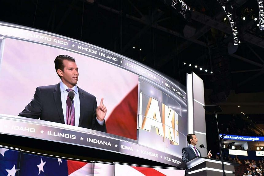 Donald Trump Jr addresses the audience on the second day of the Republican National Convention on July 19, 2016 at the Quicken Loans Arena in Cleveland, Ohio.