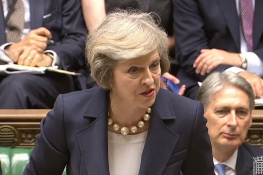 British Prime Minister Theresa May speaking during Prime Ministers Questions at the House of Commons in London on Jul7 20, 2016.