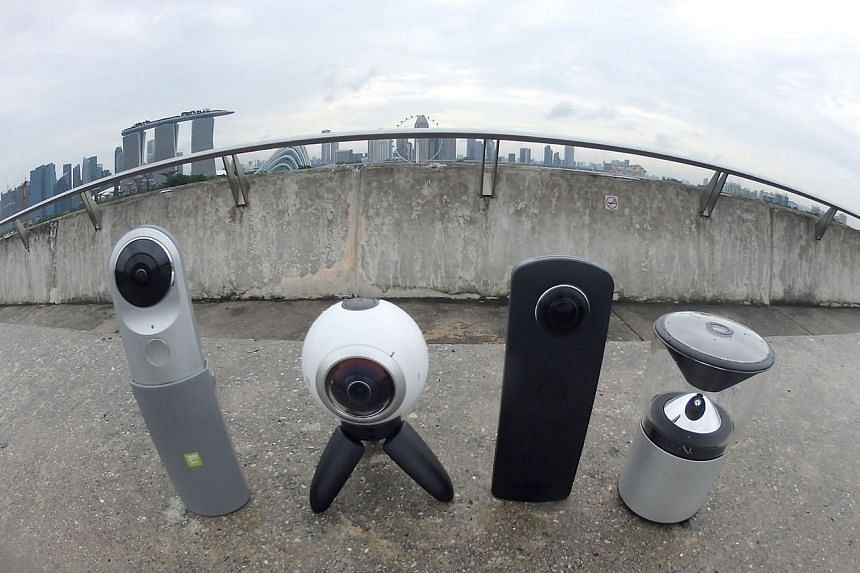 360-degree cameras - (from left) the LG 360 Cam, the Samsung Gear 360, the Ricoh Theta S and VSN Mobil V.360 - are standing tall now.