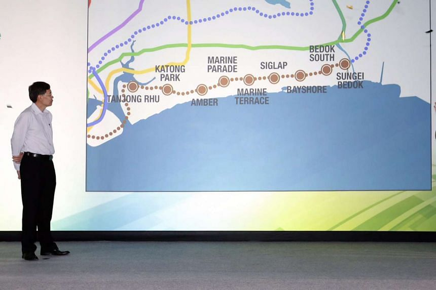 Former Transport Minister Lui Tuck Yew announcing the Thomson-East Coast Line (TEL) on Aug 15, 2014.