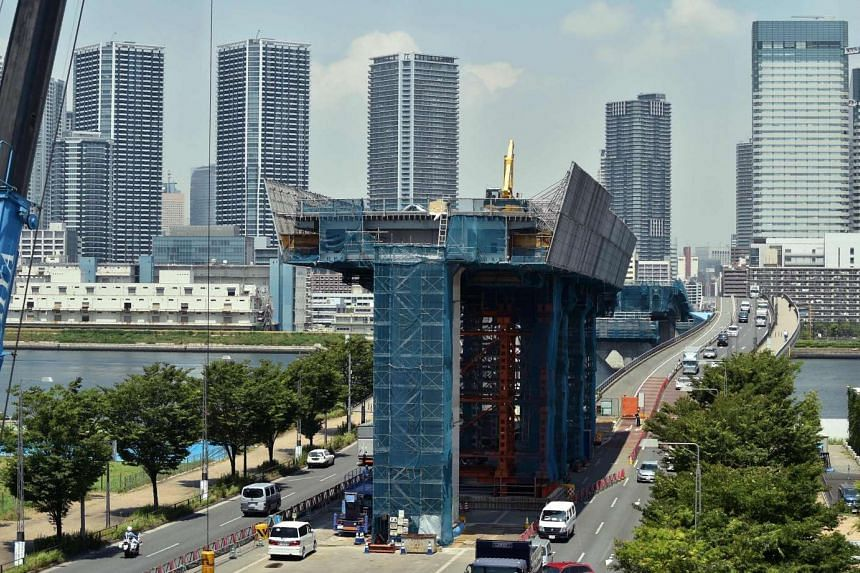 A general view shows a construction site at Tokyo's bay area Ariake on June 8.