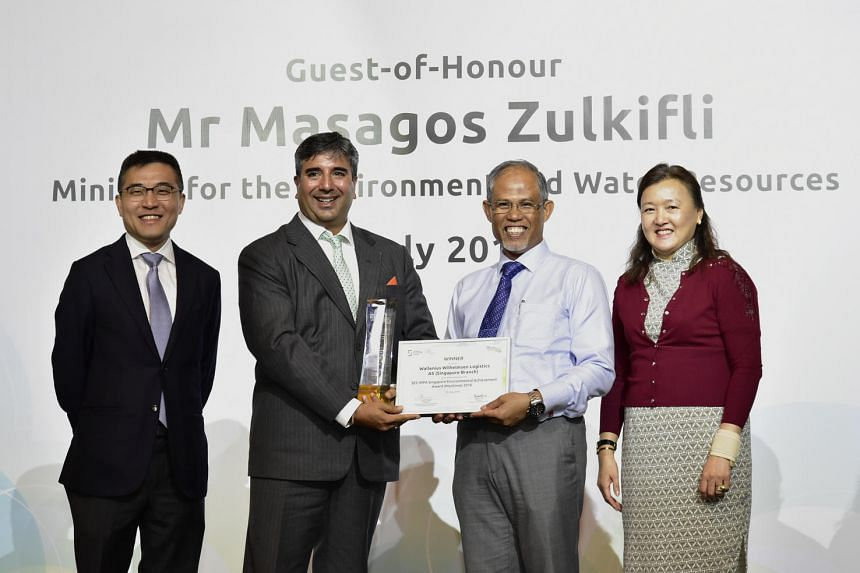(From left) Mr Andrew Tan, chief executive of Maritime and Port Authority of Singapore, Mr Gur Prasad Kohli, head of South Asia (India & SE Asia), Wallenius Wilhemsen Logistics, Mr Masagos Zulkifli, Minister for the Environment and Water Resources an