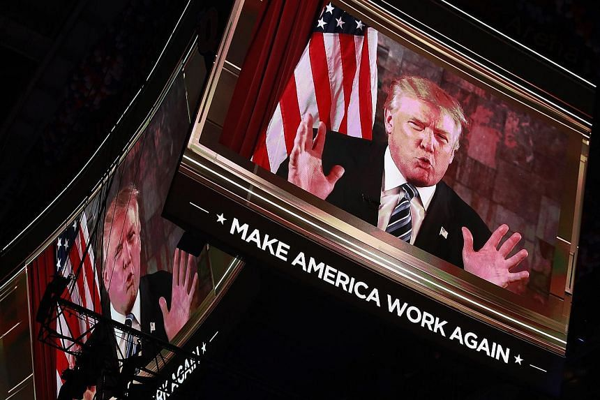 Mr Trump delivering an address via video to delegates on the second day of the Republican National Convention.