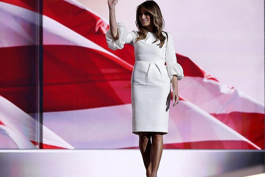 Mrs Trump's outfit, by Serbian-born designer Roksanda Ilincic, was conservative, with a hint of grandeur and a slight twist.