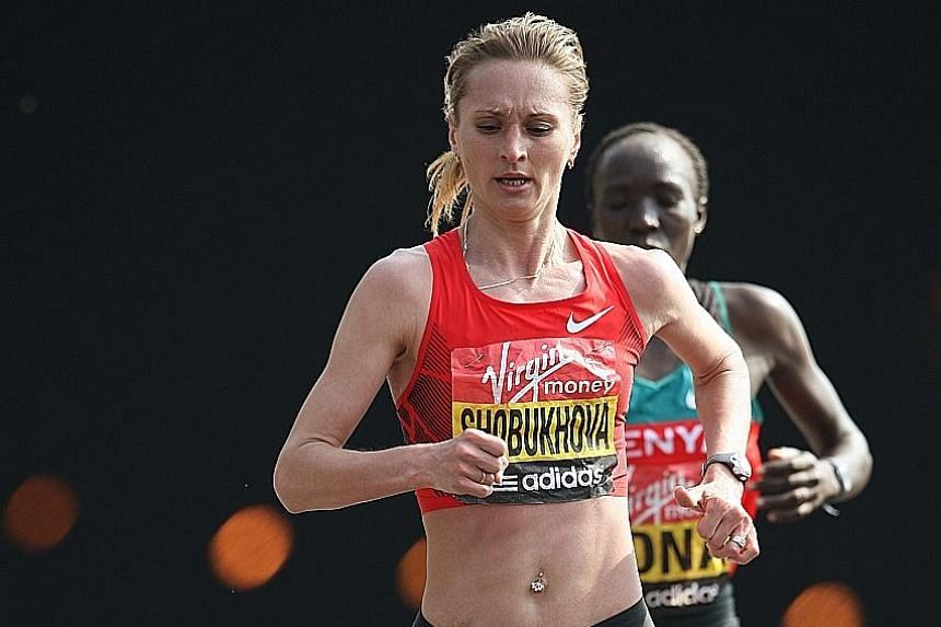 Liliya Shobukhova on her way to second place in the 2011 London Marathon. The recently retired runner was in 2013 banned for life from taking part in all the six big city marathons.