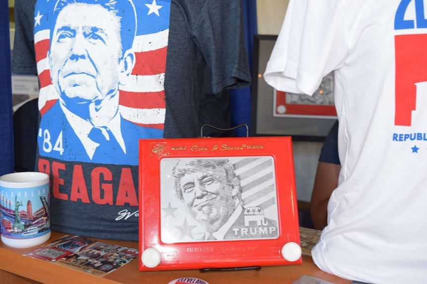 An etch-a-sketch of Donald Trump at the @gvartwork booth at Freedom Marketplace.