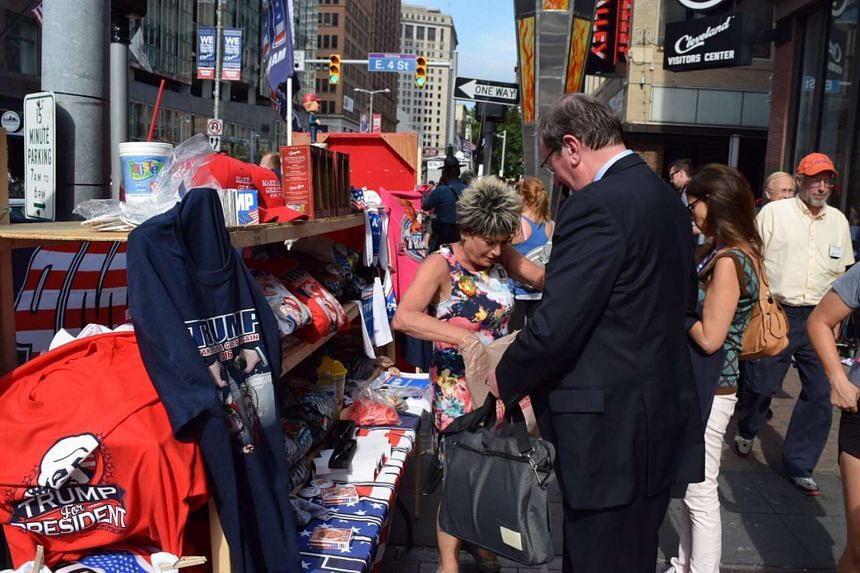 Mrs Mary Puckett travelled 1,200 km from Atlanta to sell her Trump for President gear in downtown Cleveland where the Republican National Convention is in progress.