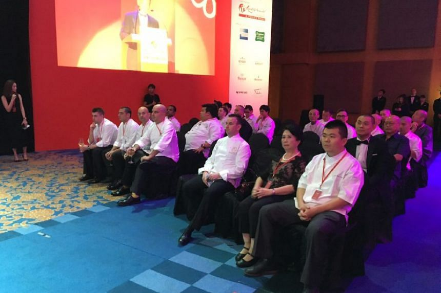 Chefs at the Singapore Michelin Guide award ceremony at Resorts World Sentosa on July 21, 2016.
