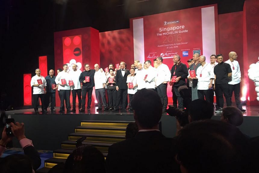 Chefs from the winning eateries during the Singapore Michelin Guide award ceremony on July 21, 2016.