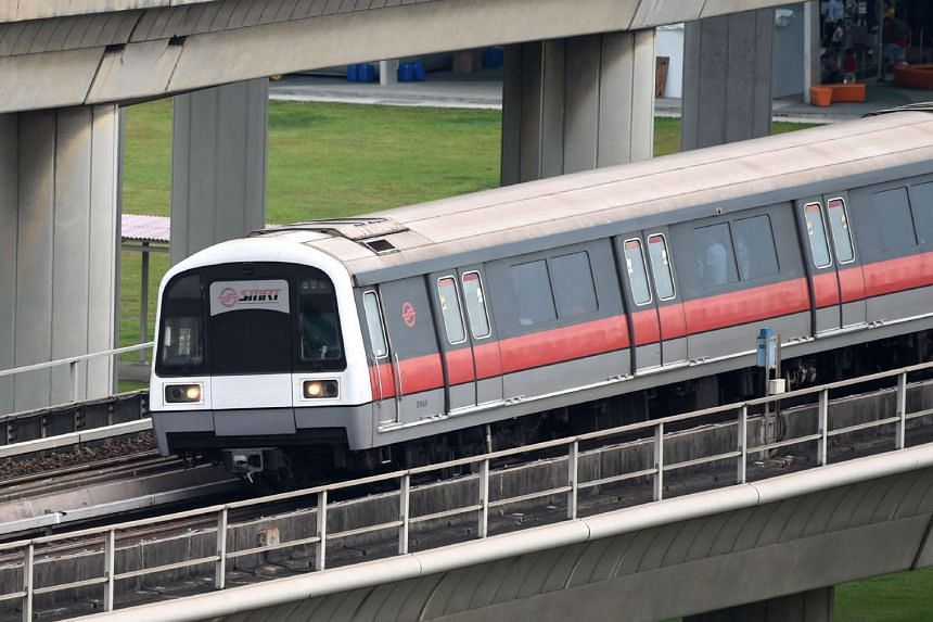This photograph taken on July 18 shows a SMRT train travelling along the line from Jurong East interchange.