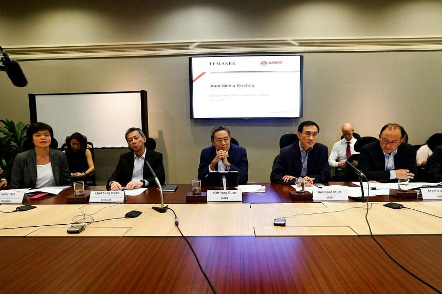 (From left) Ms Juliet Teo, Mr Chia Song Hwee, Mr Koh Yong Guan, Mr Desmond Kuek and Mr Manured Seah at the SMRT press conference on July 20.