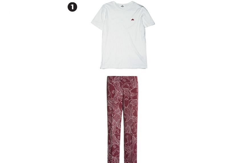 White crew neck tee, $99, future classics by Kapok and maroon pants with white face prints, $87 (usual price $290), Bimba Y Lola