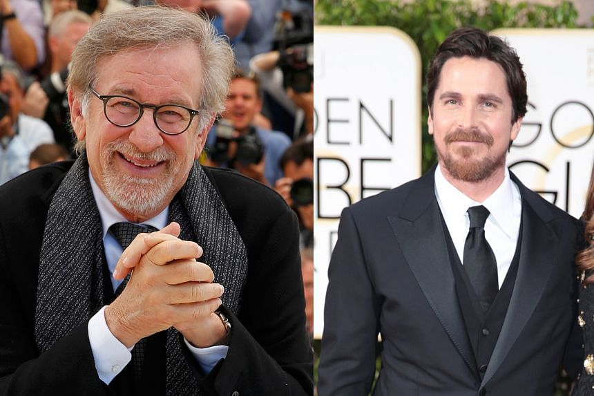 Steven Spielberg and Christian Bale (right)