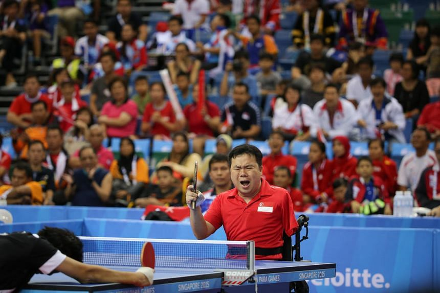 Local paddler Jason Chee in action during the Asean Para Games men's individual table tennis SM2 class match held at the OCBC Arena on Dec 8, 2015.
