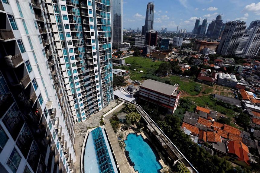 An aerial view from an empty apartment unit at a luxurious condominium in Jakarta, Indonesia.