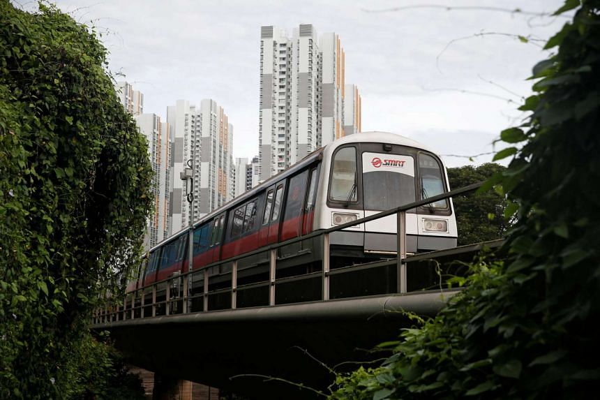 An SMRT train leaves a station in Singapore on July 19.