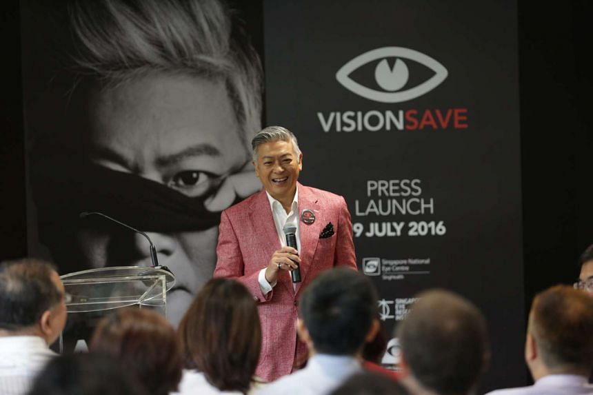 Singer-songwriter Dick Lee sharing his story of how he almost lost his sight at the VisionSave campaign launch on July 19, 2016.