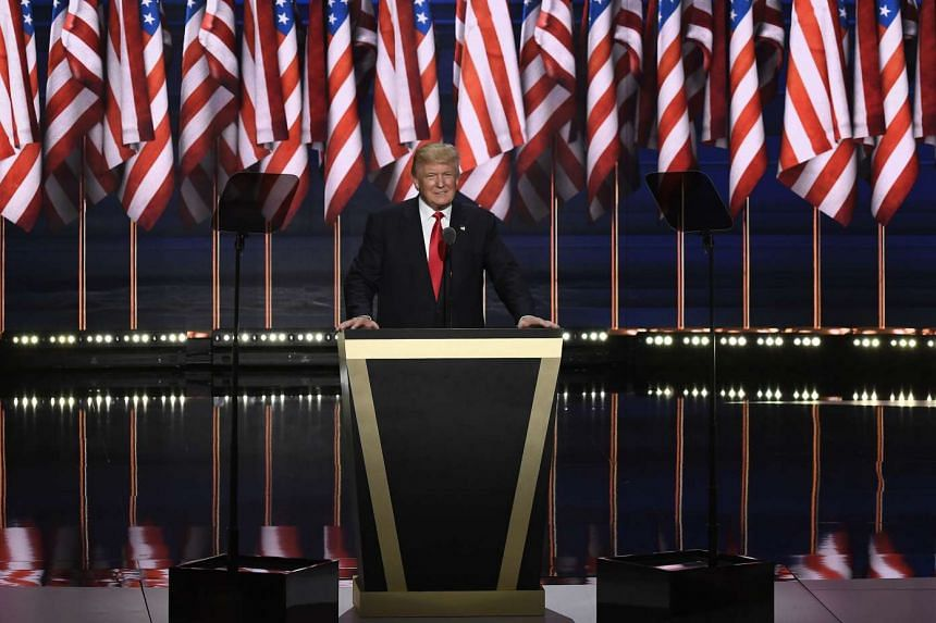 Republican presidential nominee Donald Trump speaks during the Republican National Convention in Cleveland, Ohio, July 21.