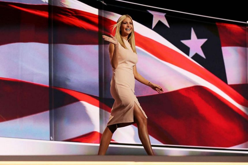 Ivanka Trump waves to the crowd as she walks on stage to deliver a speech during the fourth day of the Republican National Convention on July 21 at the Quicken Loans Arena in Cleveland, Ohio.