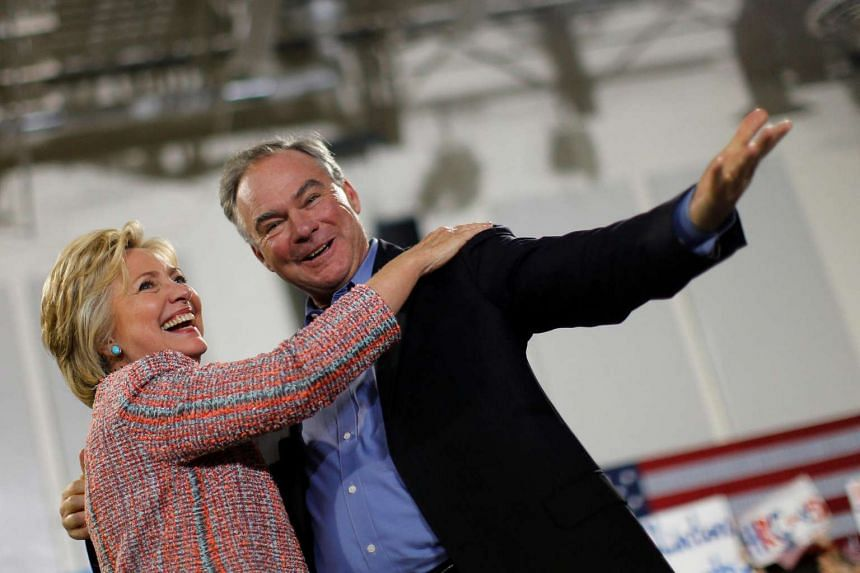 Democratic US Presidential candidate Hillary Clinton and Senator Tim Kain at a campaign rally in Annandale, Virginia, on July 14, 2016.