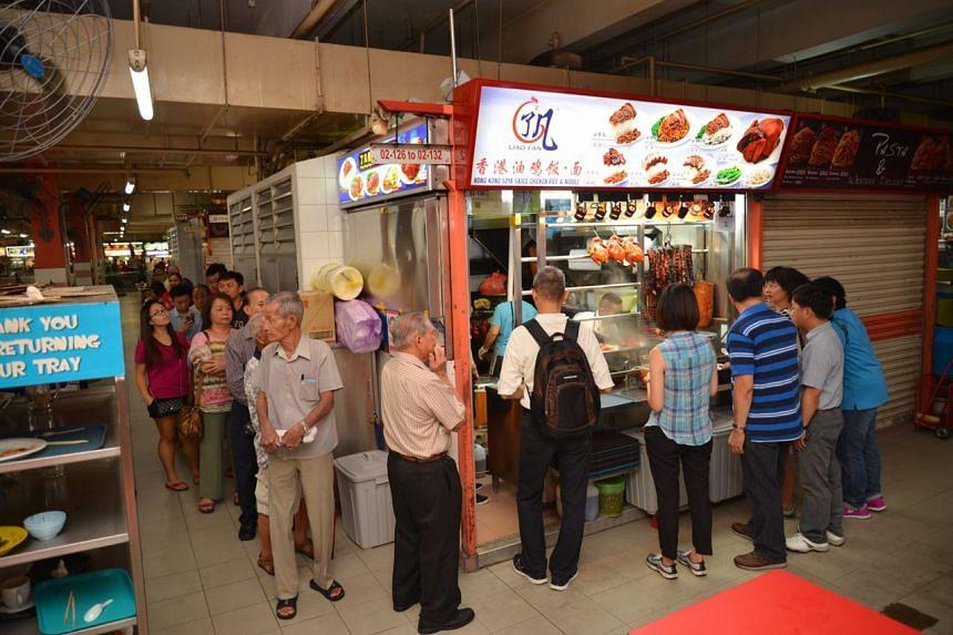 The queue at 10.30am at Hong Kong Soya Sauce Chicken Rice & Noodle.