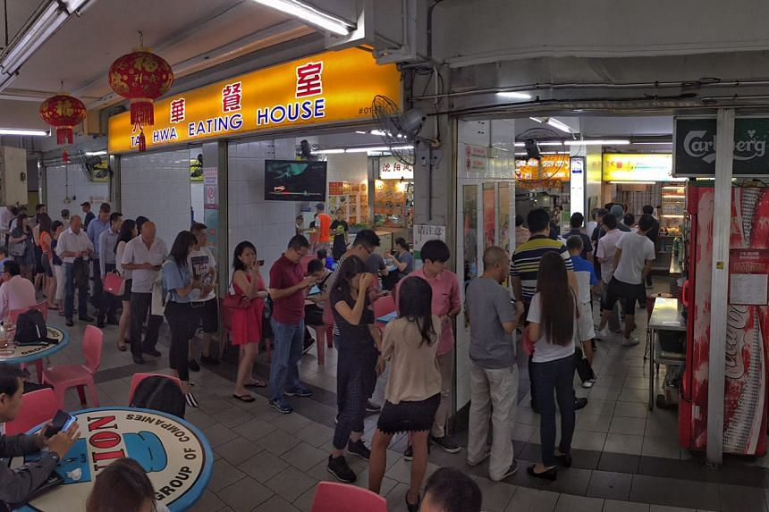 The queue at Hill Street Tai Hwa Pork Noodle at 12.30pm on Friday (July 22).