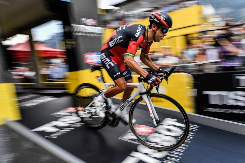 Australia's Richie Porte takes the start of the 17 km individual time-trial, the eighteenth stage of the 103rd edition of the Tour de France cycling race on July 21 between Sallanches and Megeve, French Alps.