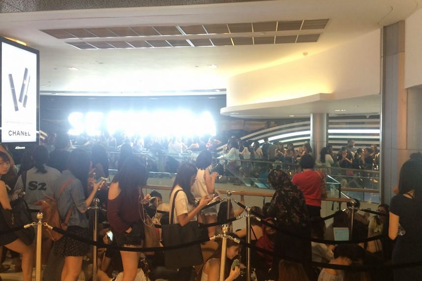 Over 400 people queuing for the opening of the new Sephora store at ION Orchard on July 22.