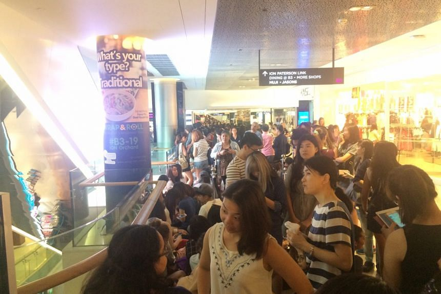 Over 400 people queuing for the new Sephora store at ION Orchard on July 22.