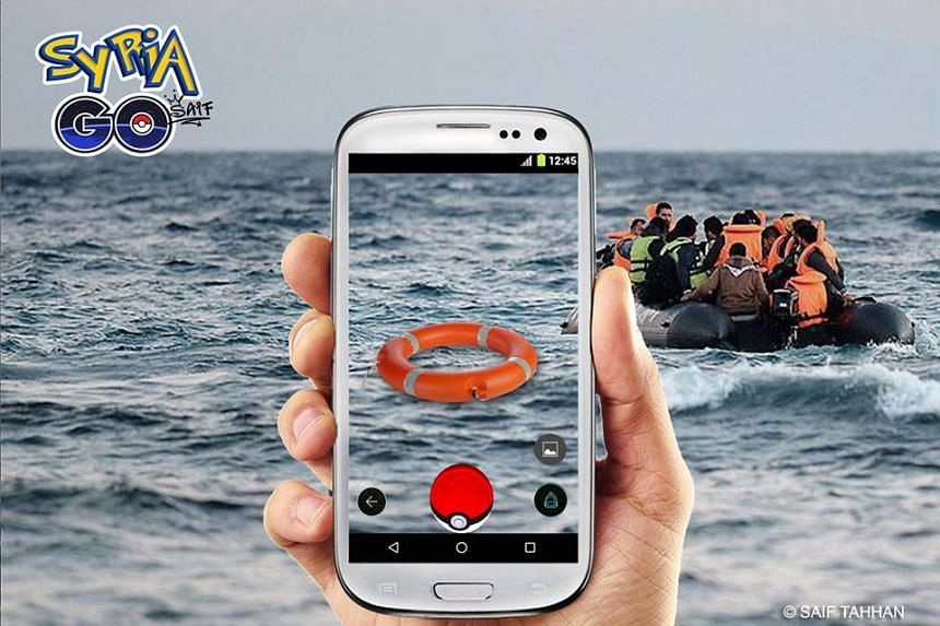 An image depicting a smartphone in front of a rubber dinghy of refugees at sea, with the user trying to capture a life ring.