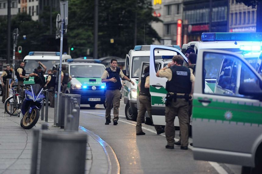Police secure the area of Karlsplatz (Stachus square) following shootings on July 22, 2016 in Munich.