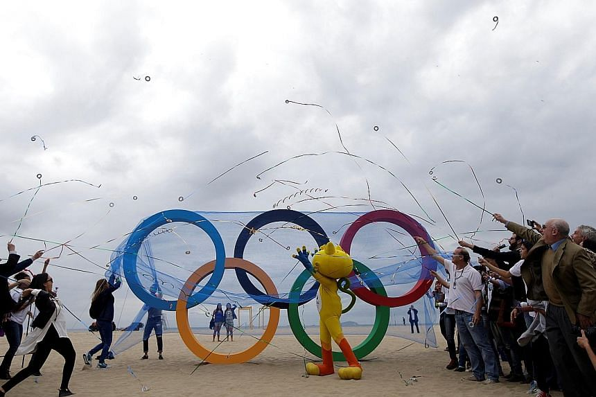 Rio Olympics mascot Vinicius at the inauguration ceremony of the Olympic rings on Copacabana beach in Rio de Janeiro on Thursday. It is believed that this will be the first time since the 1984 Los Angeles Games that there will be no live telecast in