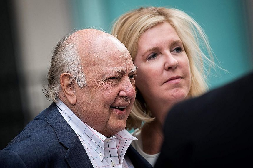 Mr Ailes, seen here with his wife Elizabeth Tilson, will continue to make himself available as an adviser to Mr Murdoch.