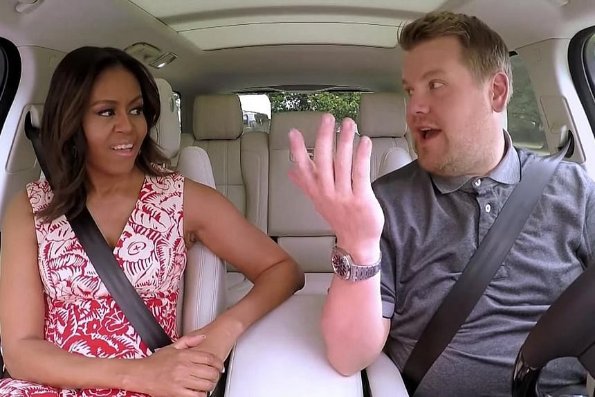 "Mrs Obama and Mr Corden sang hits from Stevie Wonder and Beyonce during the ""Carpool Karaoke"" segment of the Late Late Show, and also talked about life after the White House and her global girls' education campaign."
