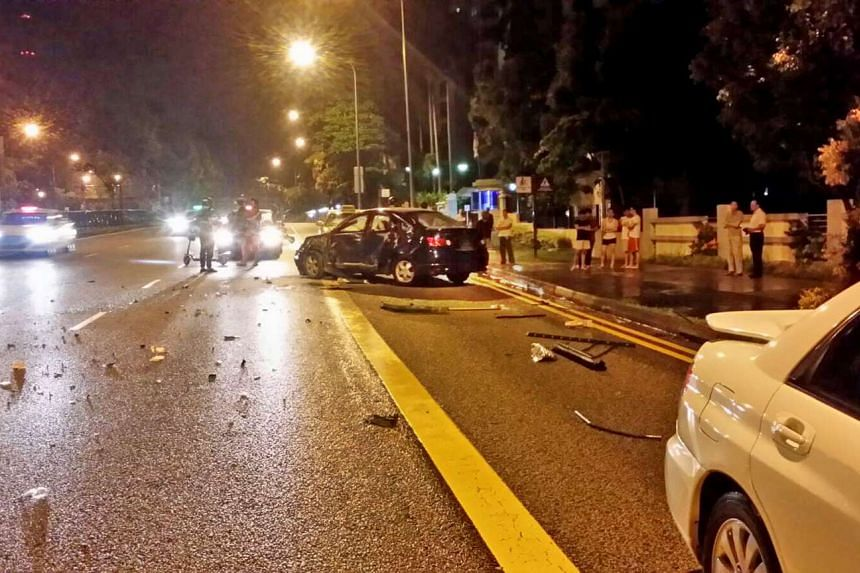 A car crash along Upper Bukit Timah Road at about 3.30am on July 23, 2016.