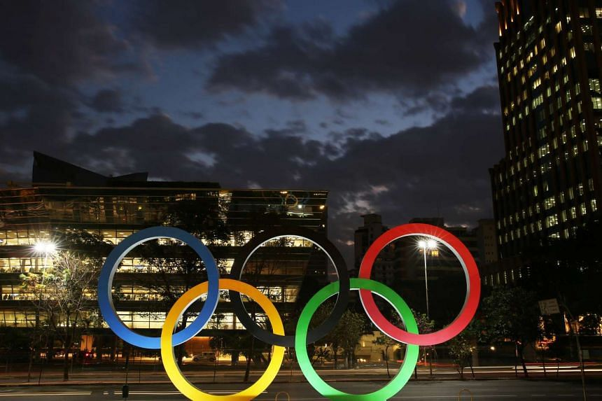 The Olympic rings at the entrance of an office building in Sao Paulo, Brazil, on July 19, 2016.