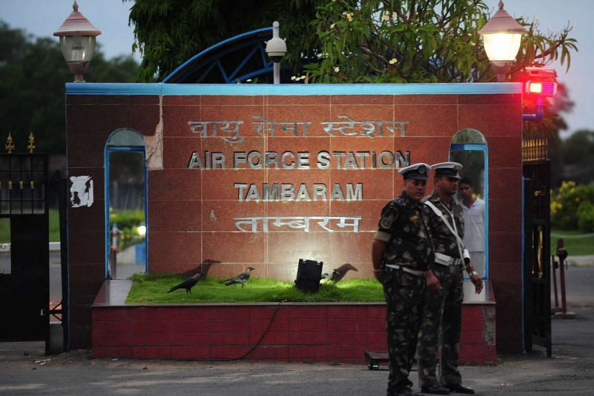Indian Airforce personal stand guard at Tambaram Airforce station in Chennai, on July 22, 2016.