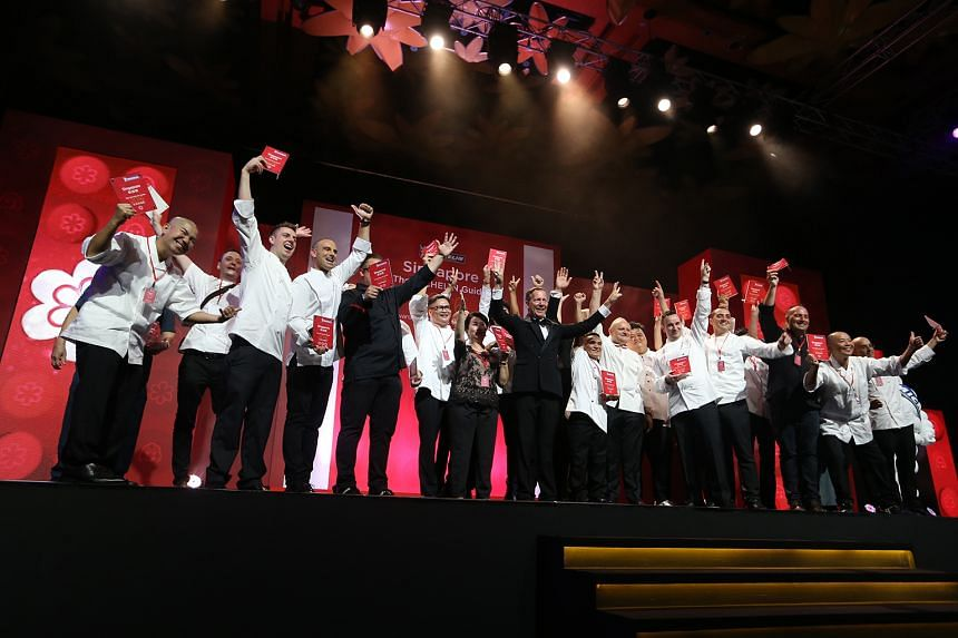 Winners at the Michelin awards ceremony at Resorts World Sentosa on Thursday.